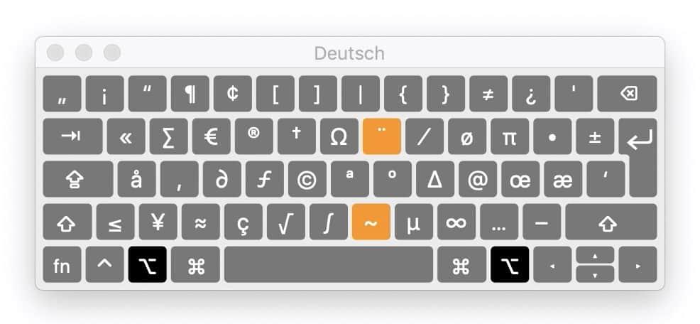 Sonderzeichen Mac: Tastaturbelegung bei gedrückter ALT-Taste