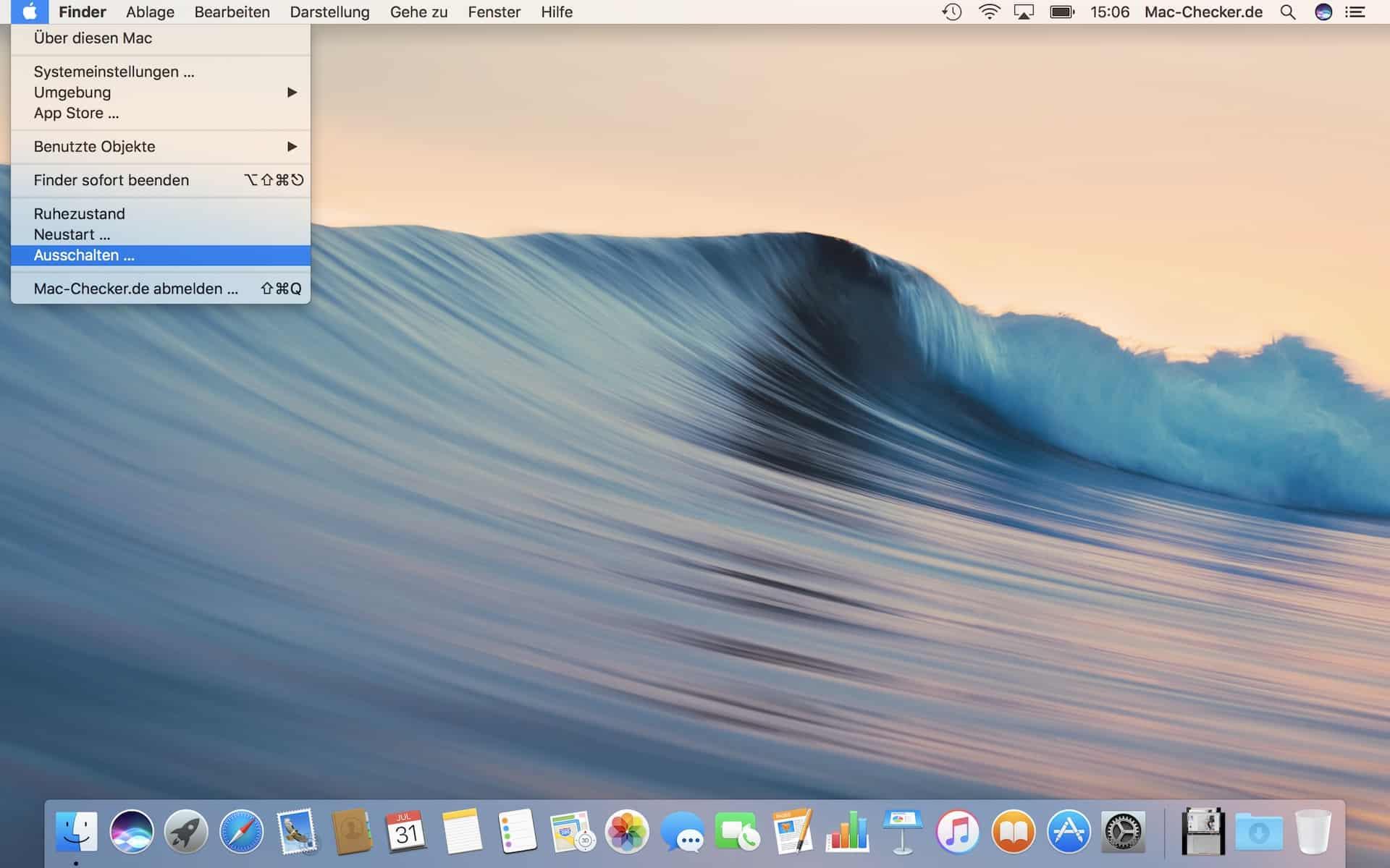 Einen Neustart durchführen oder den Mac ausschalten kannst Du über das Apfel-Menü…