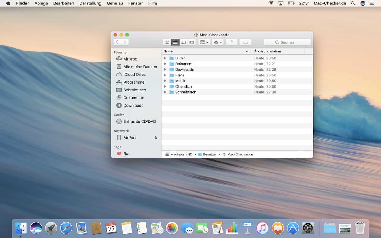 Der Benutzerordner im Finder – so heißt die macOS-Dateiverwaltung…