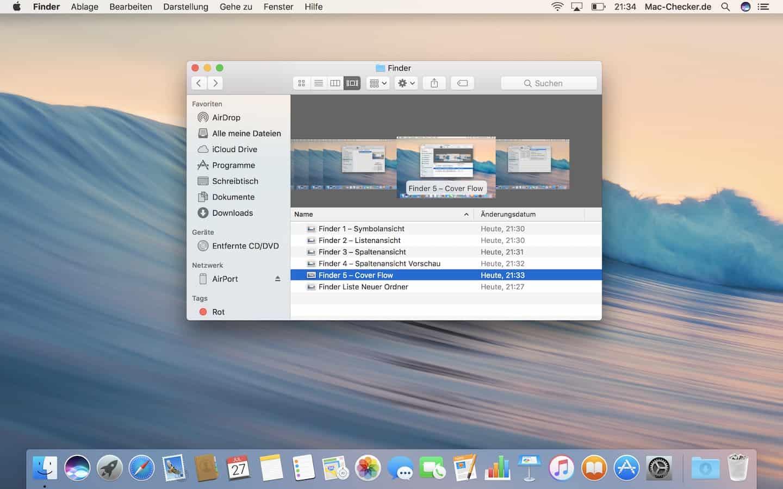 Die Ansicht Cover Flow erlaubt es, mehrere Dateien in der Vorschau