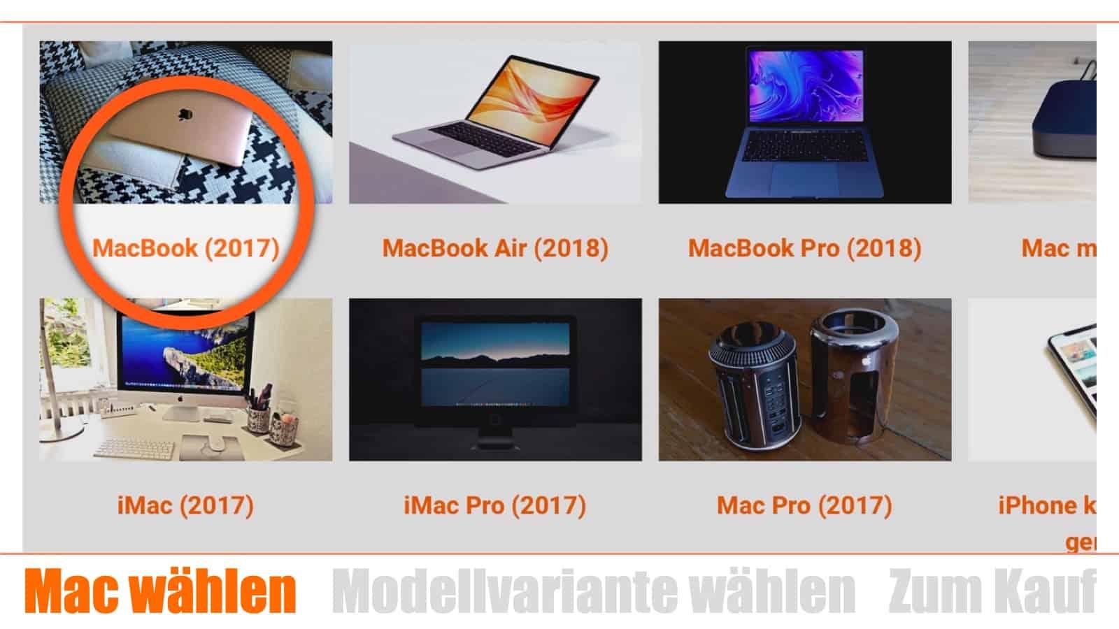 Mac kaufen Schritt 1: Mac wählen