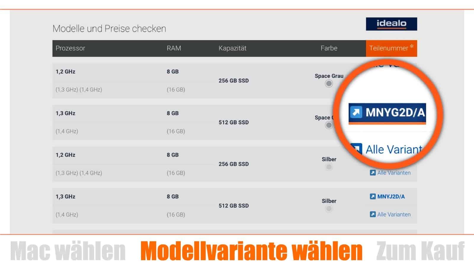 Mac kaufen Schritt 2: Modellvariante wählen