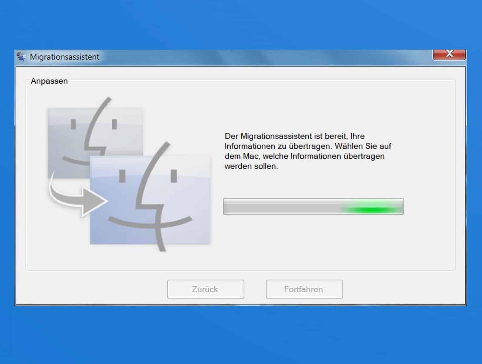 Der Windows-Migrationsassistent wartet auf den Mac…