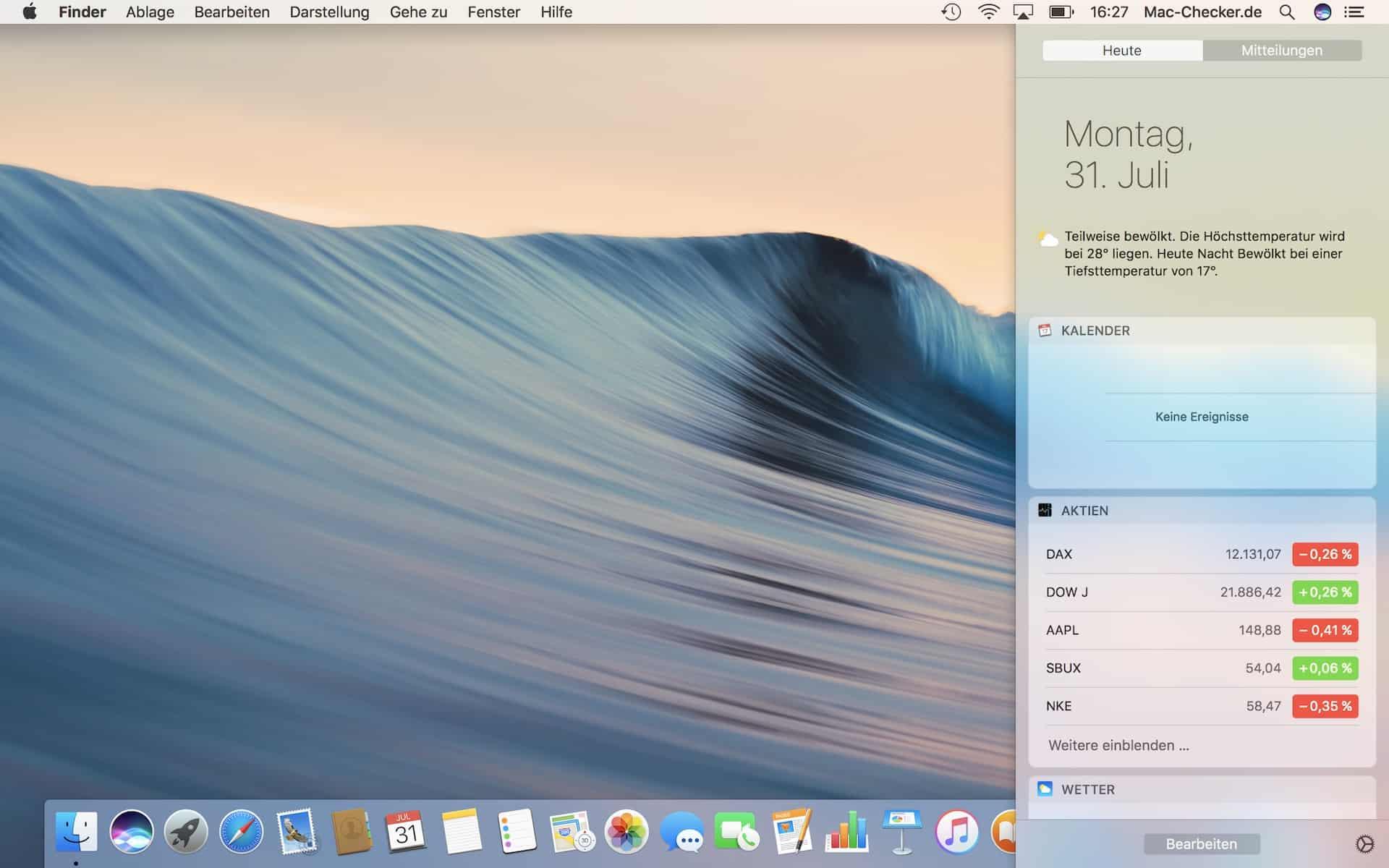 Die Mitteilungszentrale von macOS