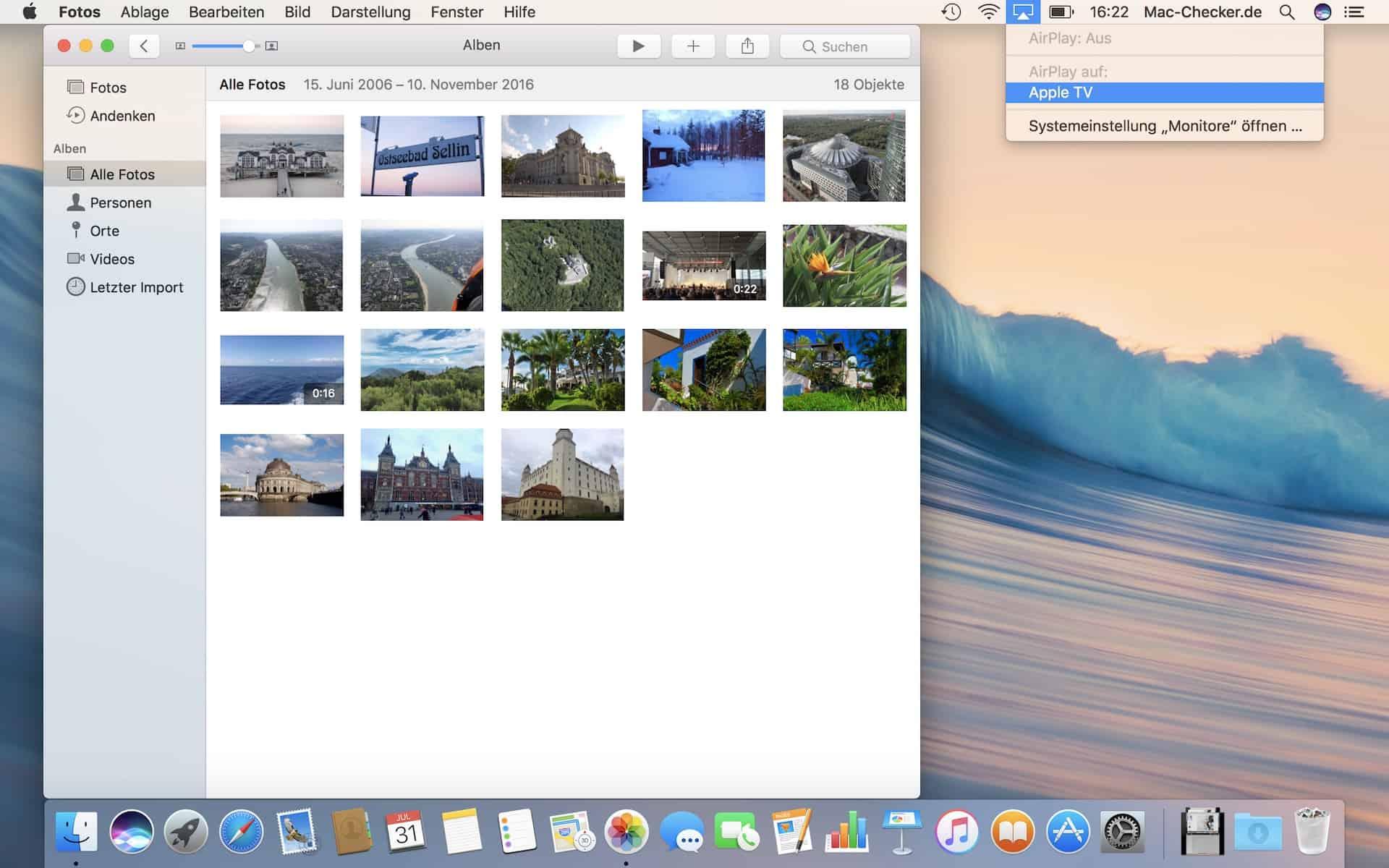 Übertrage beliebige Inhalte live mittels AirPlay und Apple TV an einen Fernseher (Fotos, Diashows, Videos, Musik oder den ganzen Bildschirm).