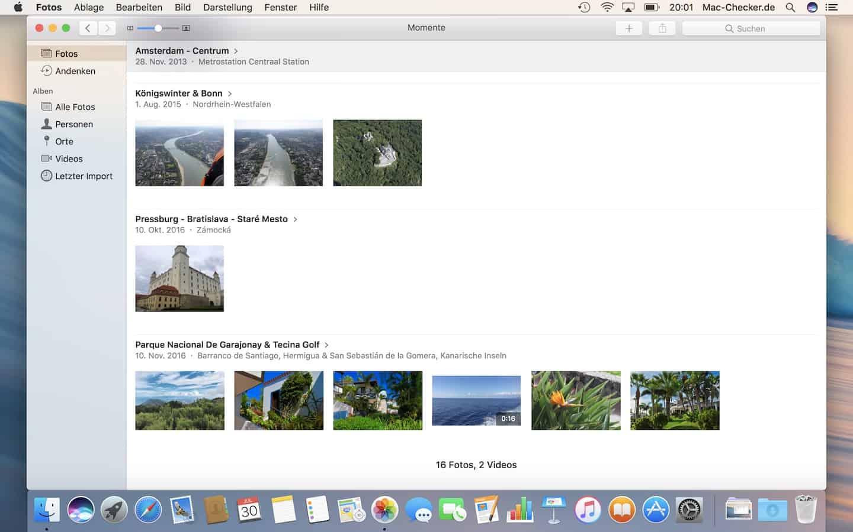 Die FotosApp zeigt Bilder chronologisch an nach