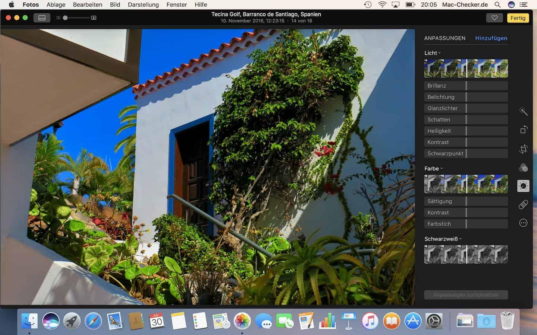Nachbearbeitung direkt in der Apple Fotos App, z.B. von
